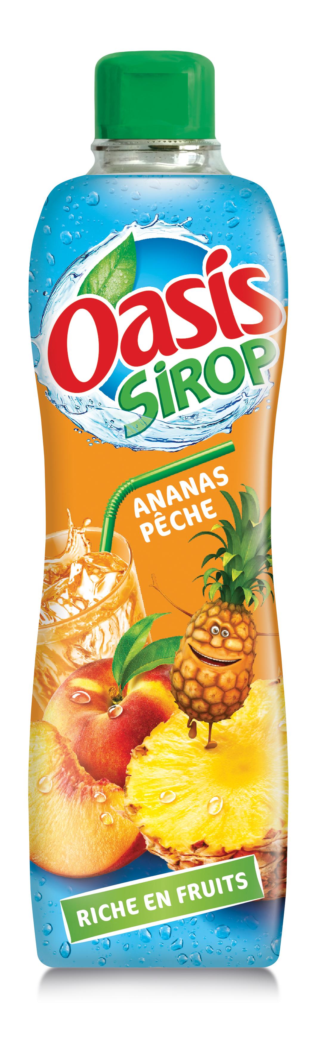 Ananas peche - Oasis lance sa première gamme de sirops