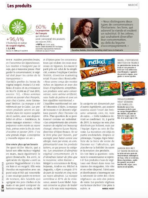 Capture d'écran 2018 08 28 à 15.28.47 - Intervention dans l'article de LSA : les produits végétaux s'orientent vers plus de simplicité