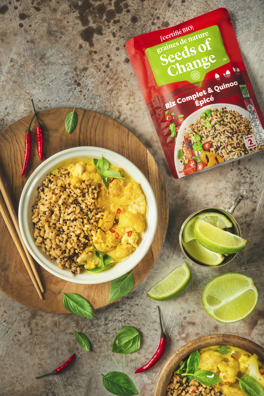 Riz et quinoa curry de poulet et chou fleur à la citronnelle - graines de nature - Seeds of Change propose des mélanges de céréales inédits