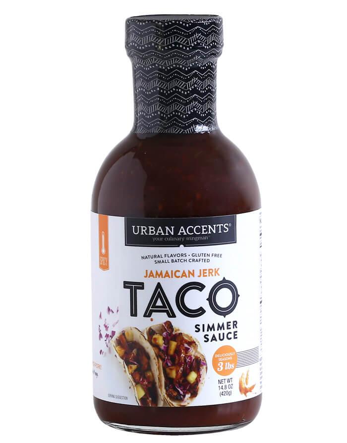 urban accents jamaican jerk taco sauce bottle front Webres 700x895 - La street-food sans gluten - Urban Accents