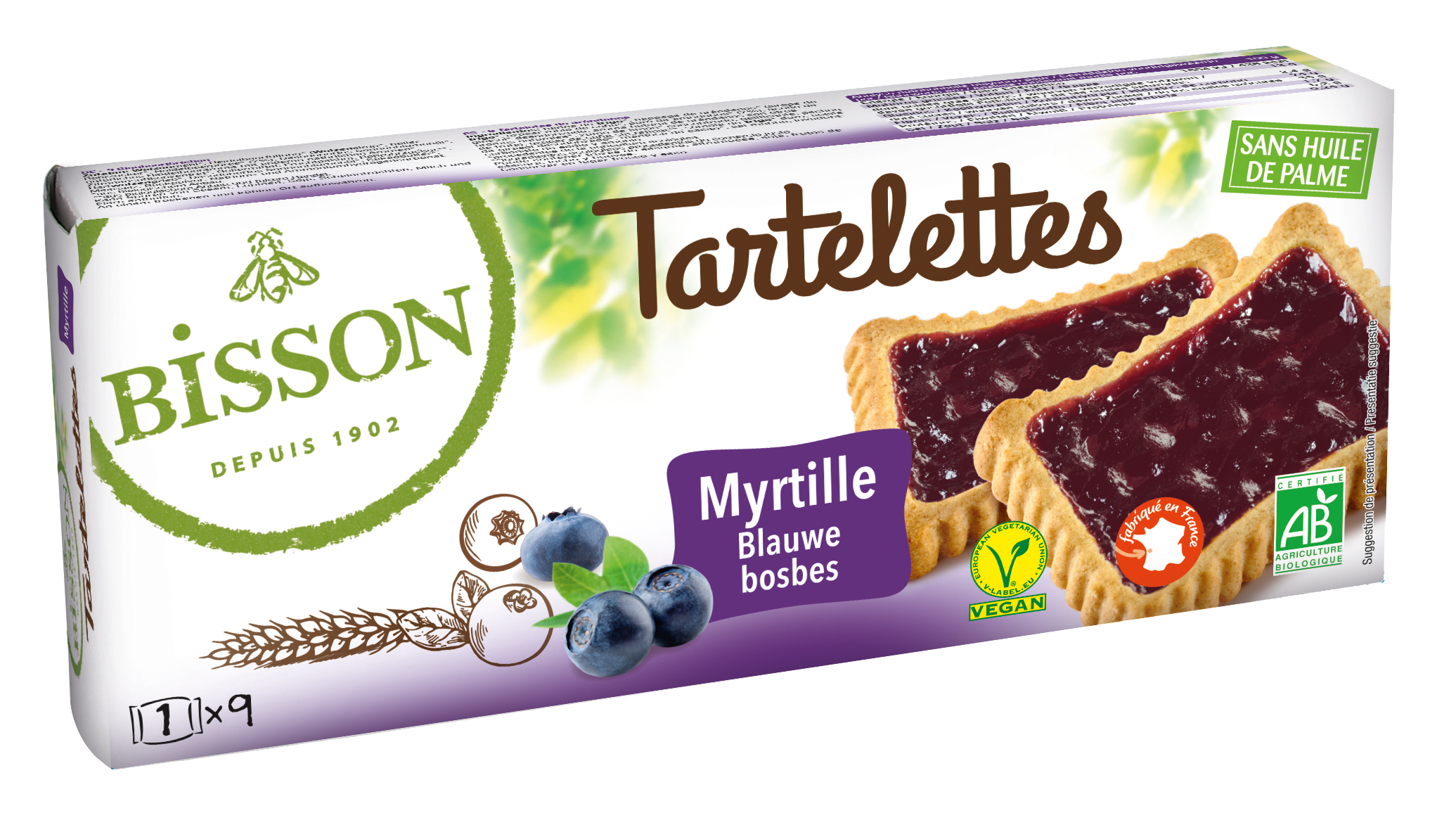 bisson 8666 tartelette myrtille 2018 - Bisson lance une nouvelle gamme de biscuits bio