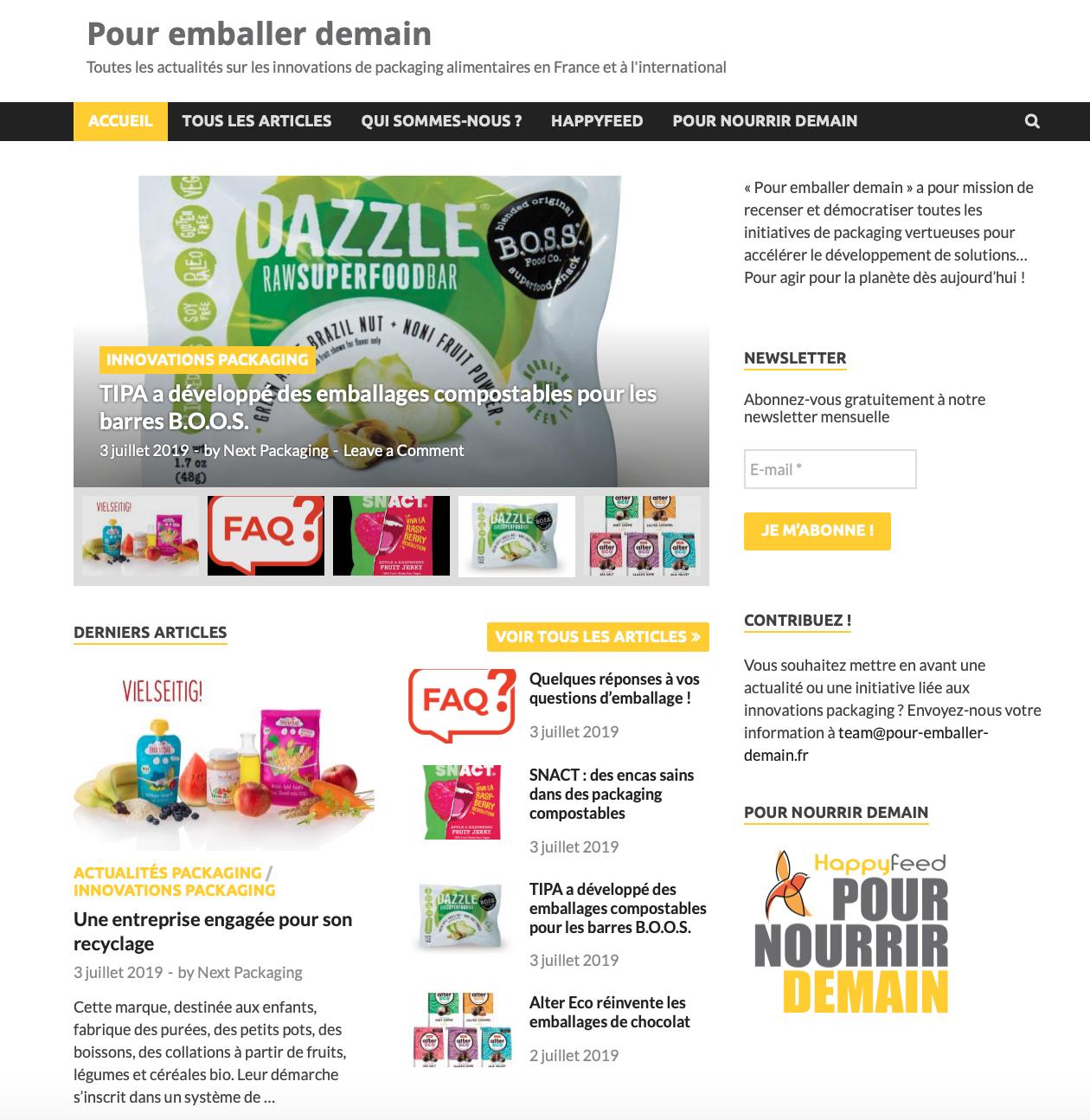 """Capture d'écran 2019 07 04 à 08.53.02 - """"Pour emballer demain"""", le site d'actualités sur les innovations packaging"""