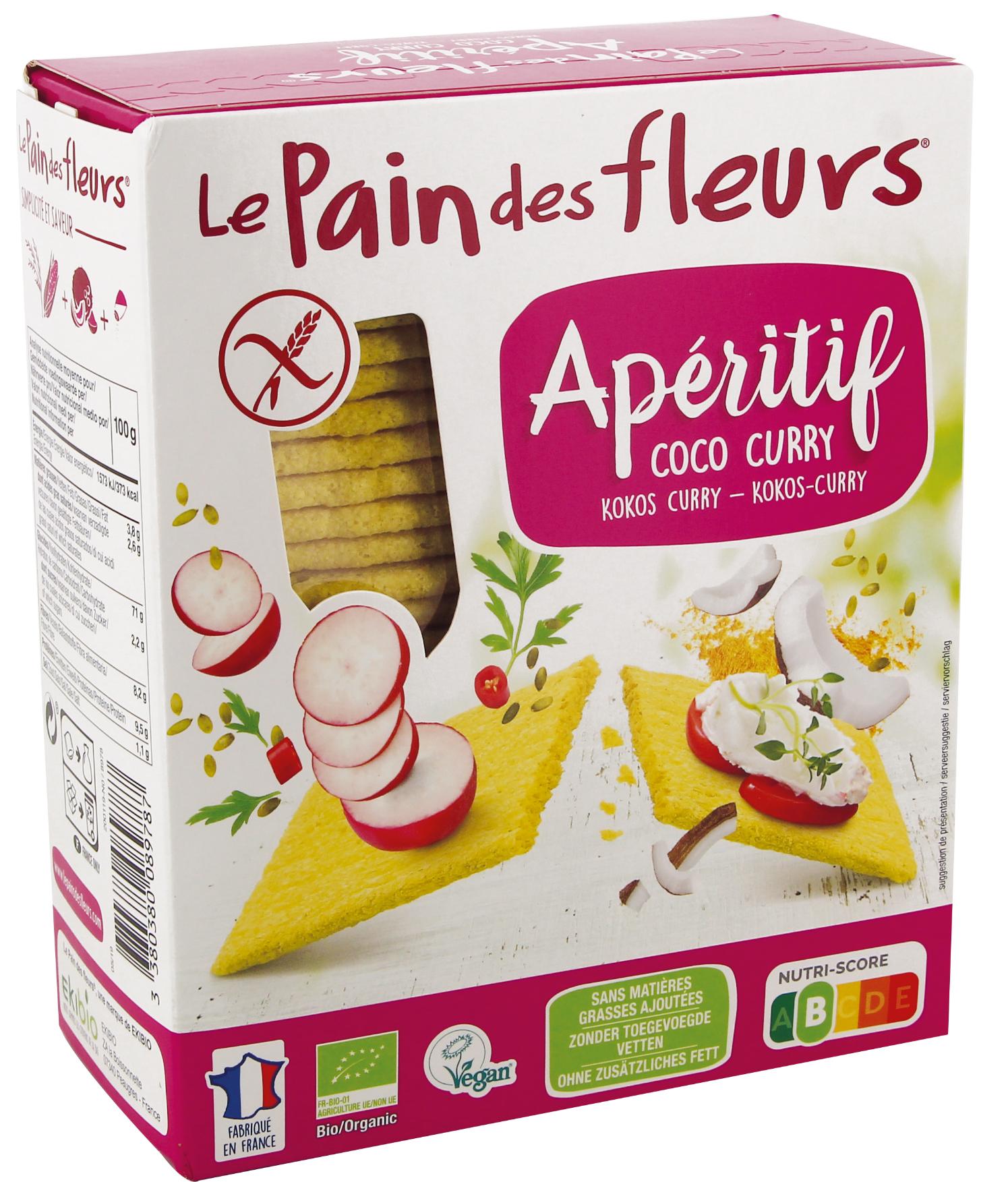 lpdf 8978 tartines craquantes apero coco curry 150g 2019 - Un apéritif 100% bio avec le Pain des fleurs