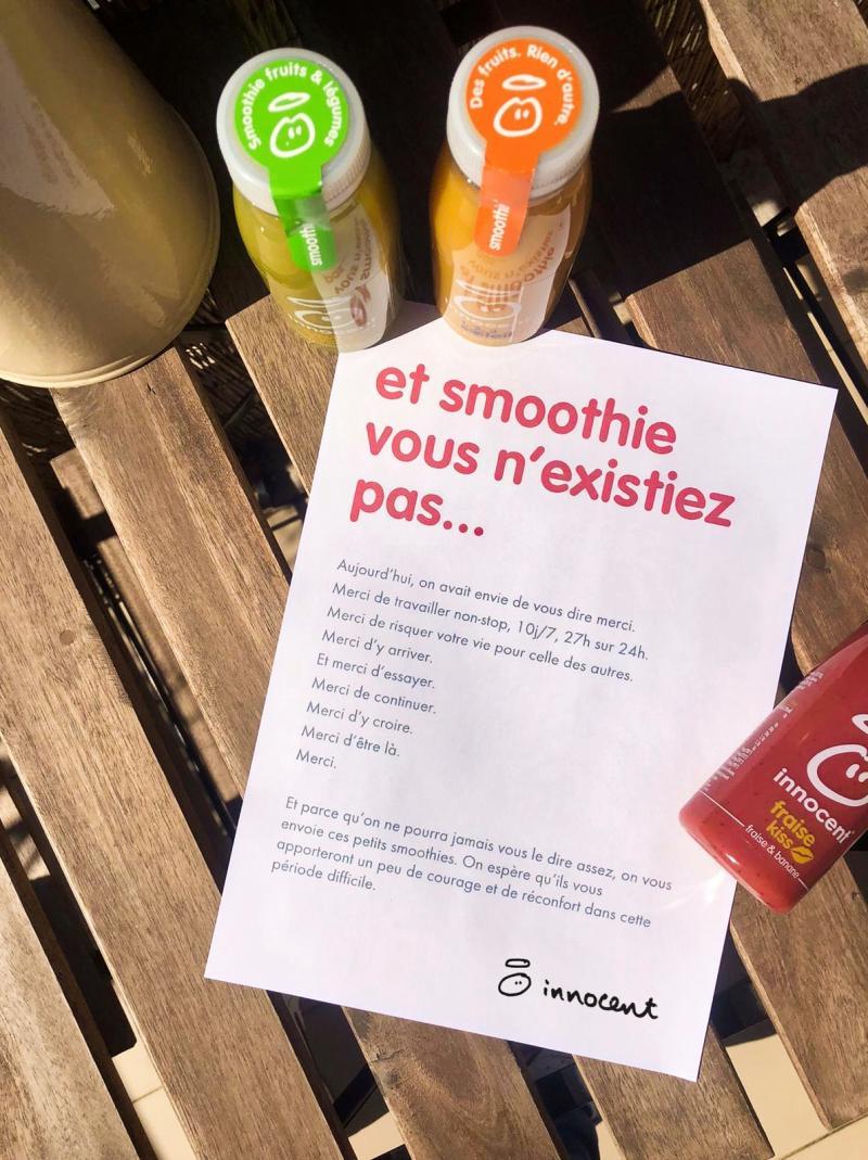 0 2 - Dîtes merci au personnel soignant avec les smoothies offerts par la marque innocent