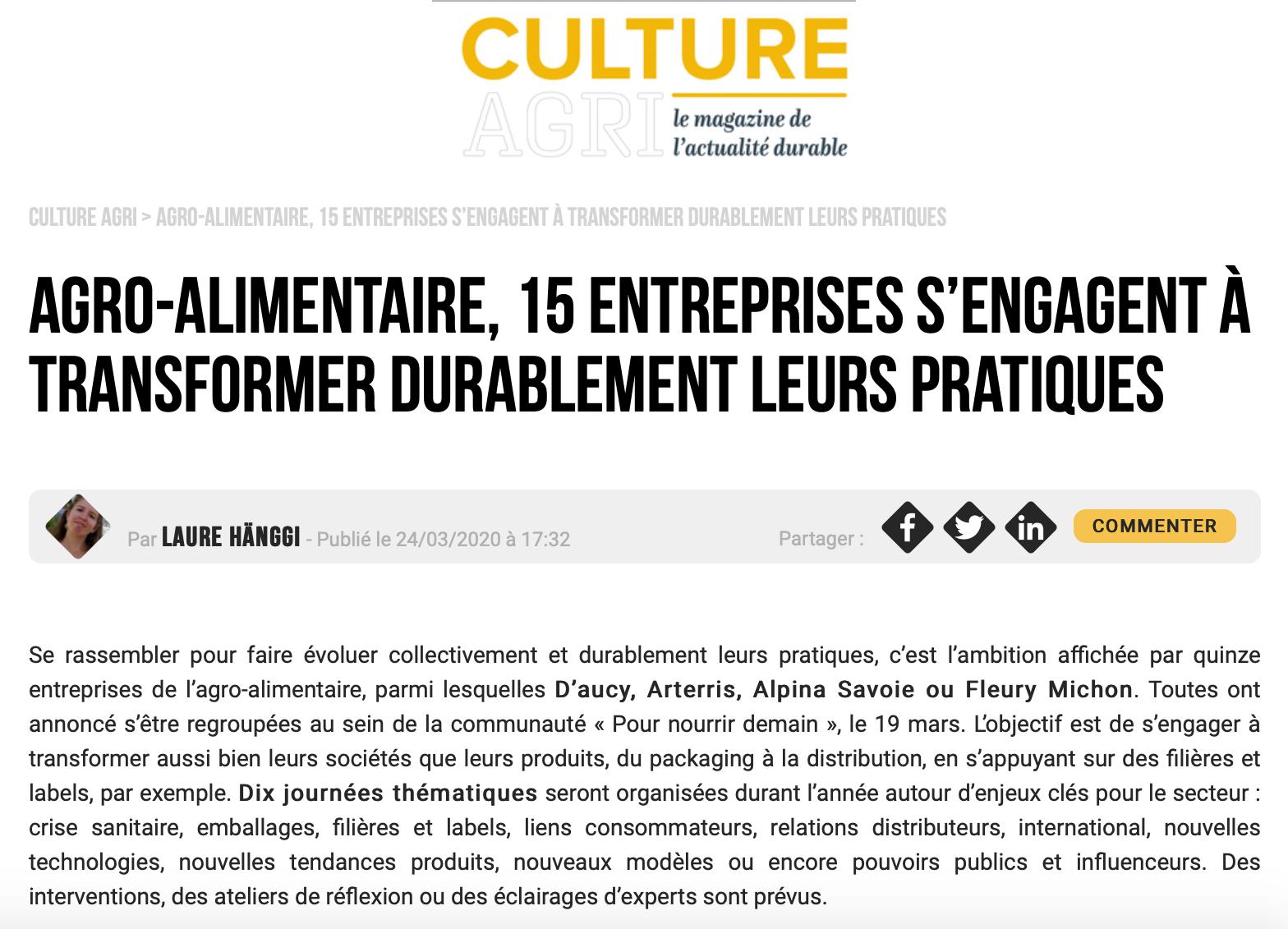 cultureagri - (média) Agro-alimentaire, 15 entreprises s'engagent à transformer durablement leurs pratiques - Culture Agri