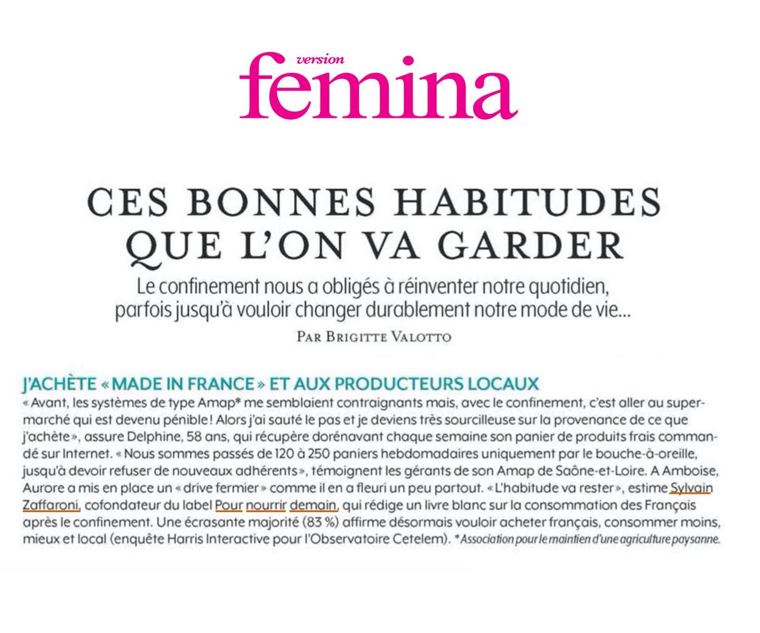 femina - Intervention dans le magazine Version Femina
