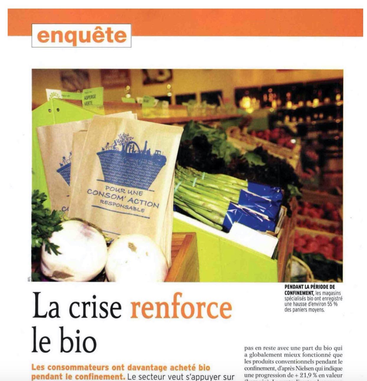"""Capture d'ecran 2020 07 29 a 13.48.24 - Intervention dans le dossier """"La crise renforce le bio"""" du magazine Réussir Fruits et Légumes"""