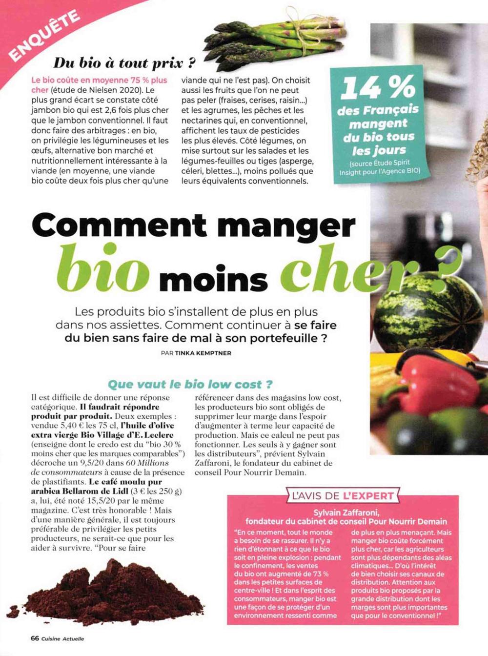 """cuisine actuelle - Intervention d'expert dans Cuisine Actuelle : """"Comment manger bio moins cher ?"""""""