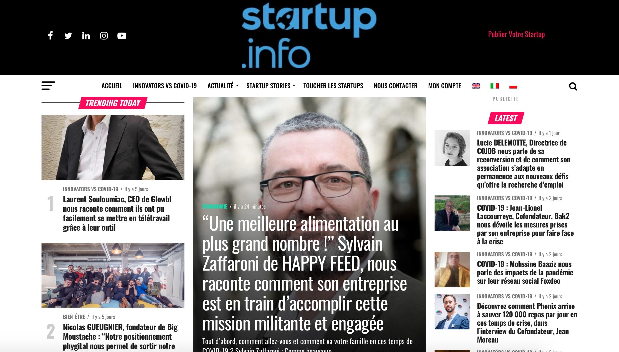 Capture decran 2020 09 06 a 12.27.31 - Interview de Sylvain Zaffaroni dans le média Startup.info