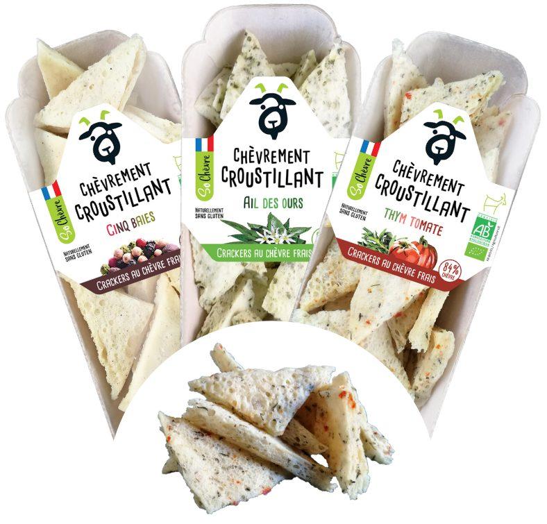 """Gamme crackers So Chevre - Des crackers """"chèvrement croustillants"""" pour compléter la gamme So Chèvre Apéro"""