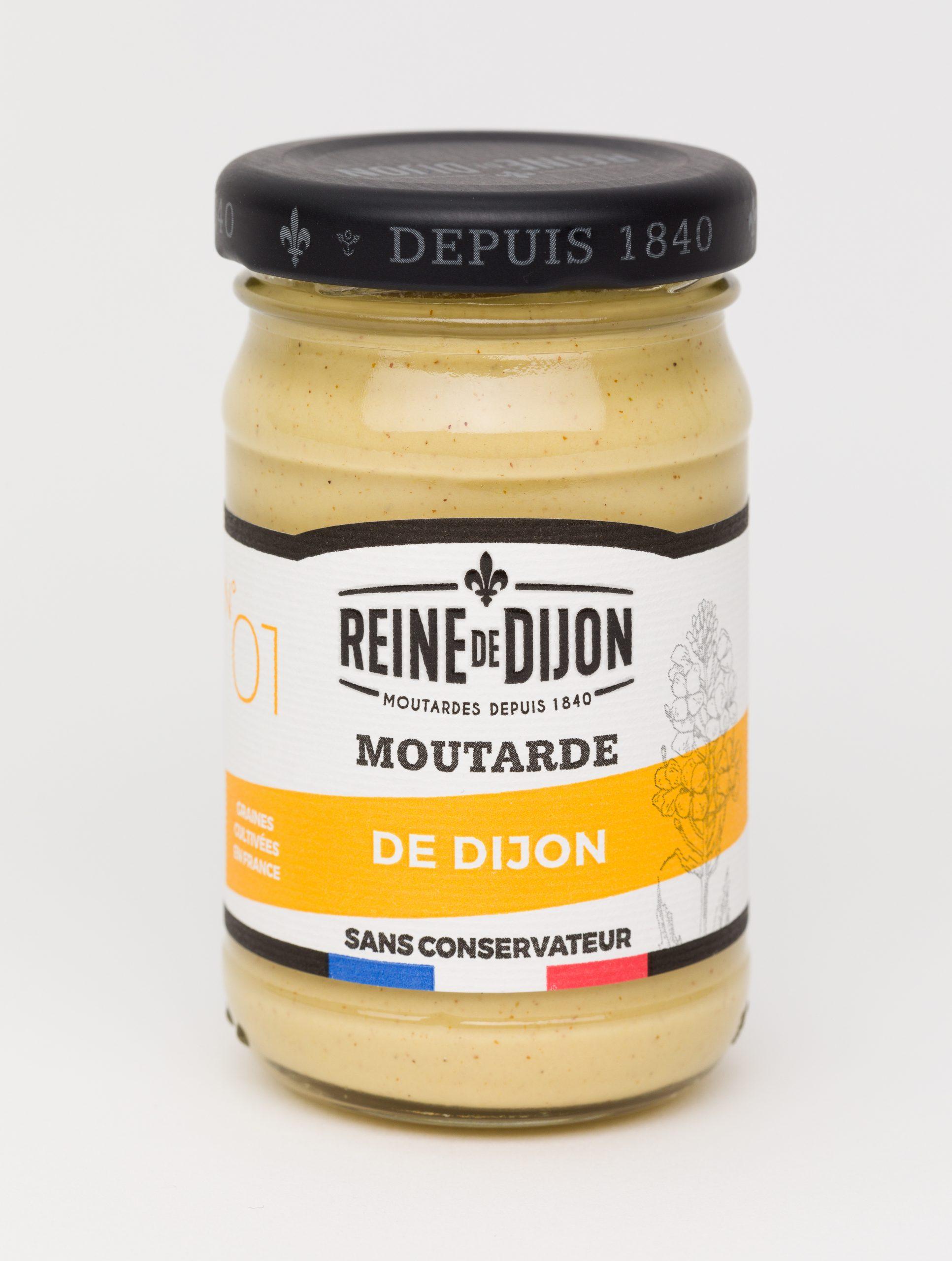 Reine de Dijon GMS Blanc 01 Moutarde de Dijon 100g  scaled - La moutarde aux graines 100% françaises