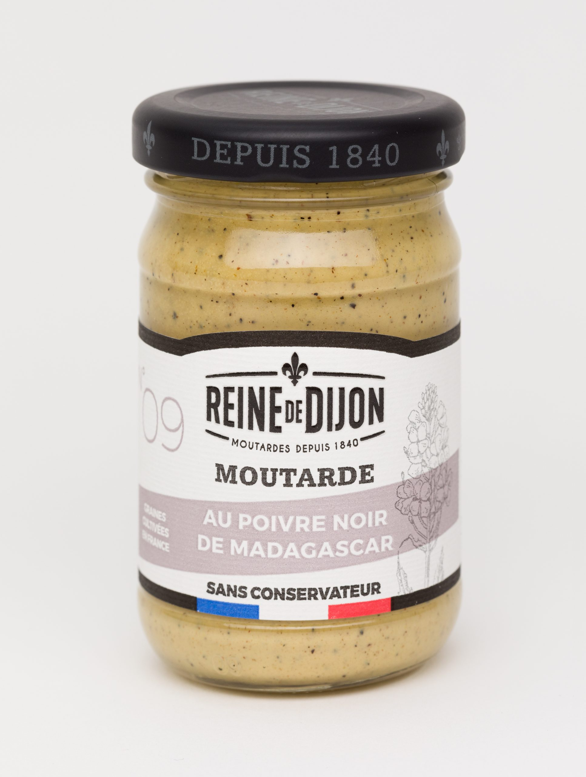 Reine de Dijon GMS Blanc 09 Moutarde au poivre noir 100g  scaled - La moutarde aux graines 100% françaises