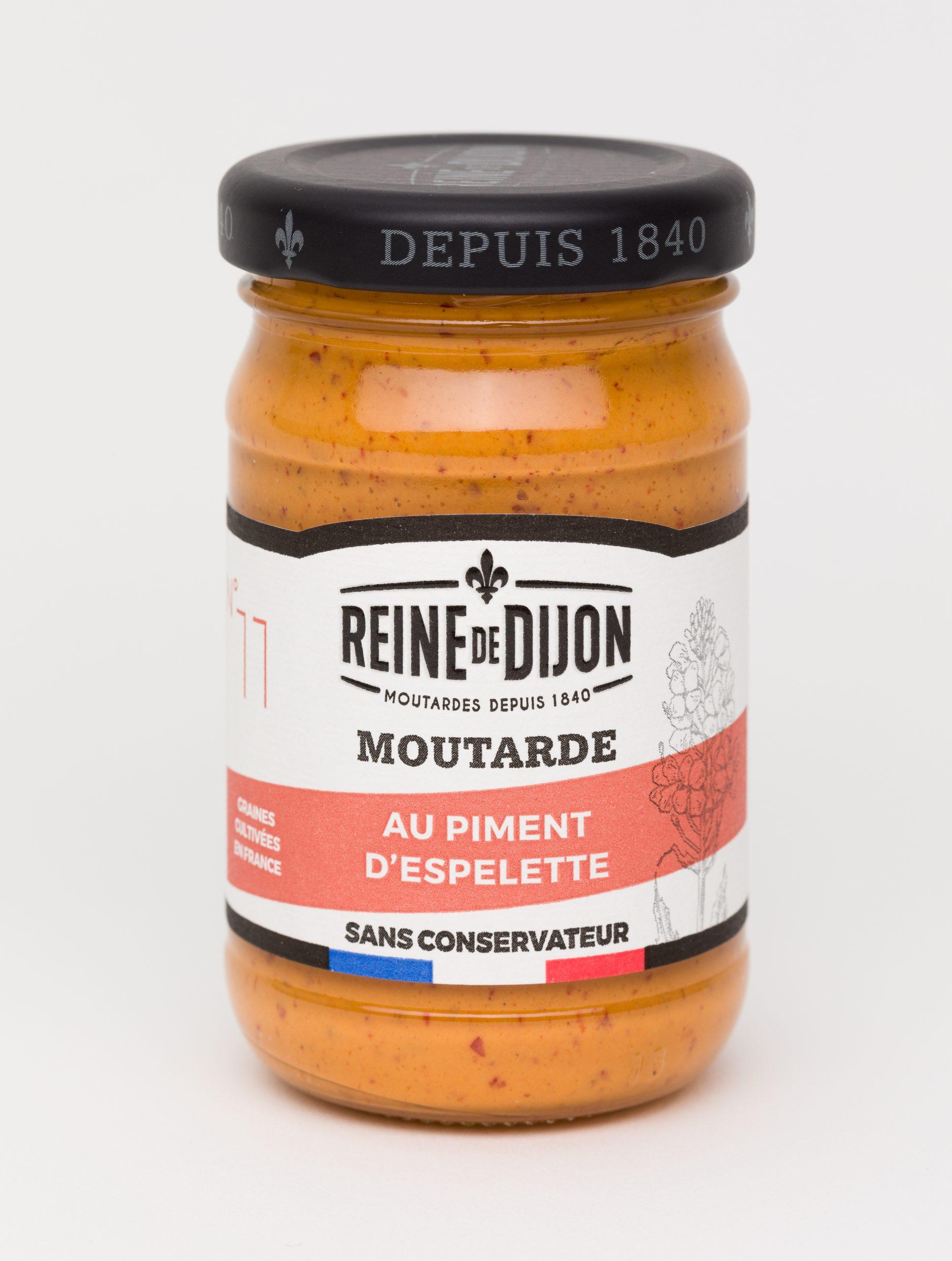 Reine de Dijon GMS Blanc 11 Moutarde au piment dOCOEspelette 100g  scaled - La moutarde aux graines 100% françaises