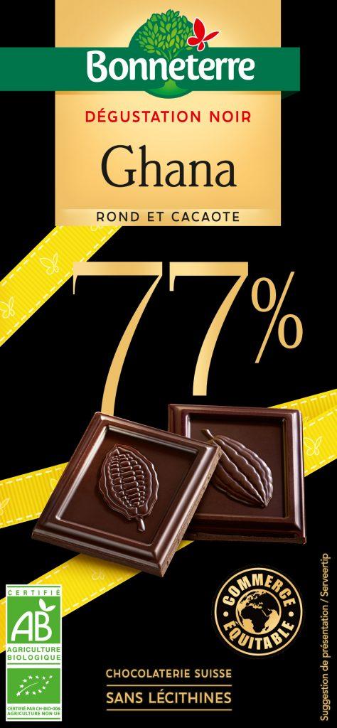 DEGUSTATION NOIR GHANA 77 BONNETERRE 474x1024 - Bonneterre développe sa gamme de chocolats bio, équitables et gourmands
