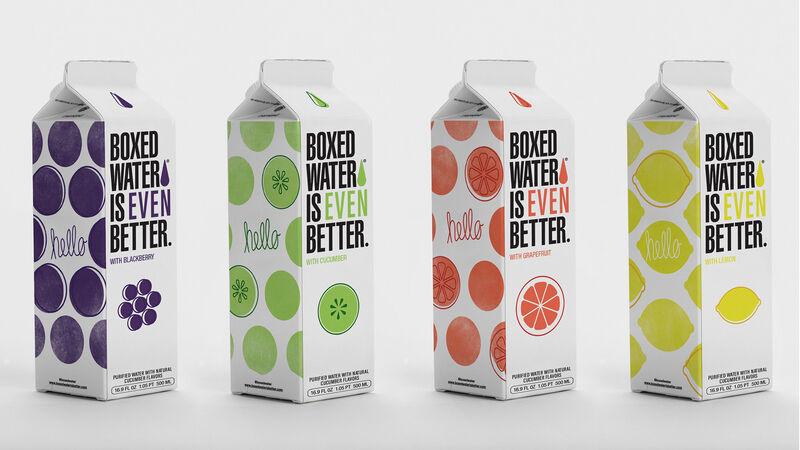 boxed flavored water - Des eaux aromatisées dans des emballages à base de plantes