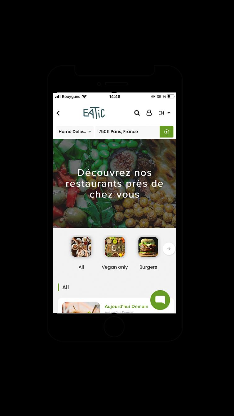 mockup app 1 - Eatic, l'application de livraison de repas 100% veggie et éthiques
