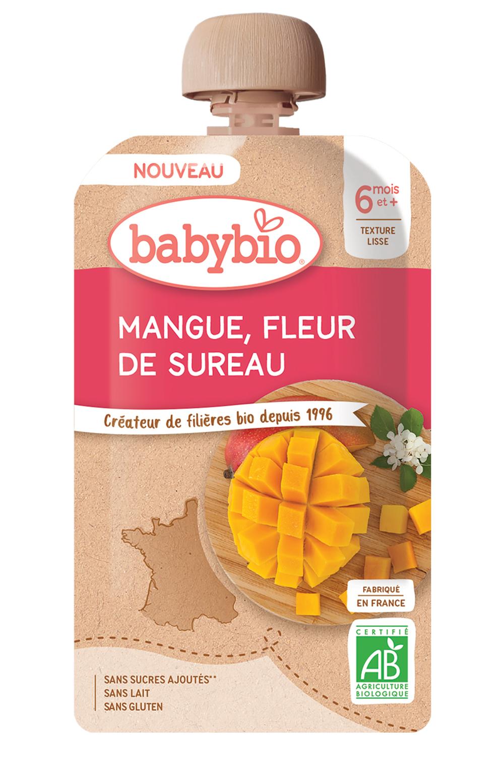 babybio Mangue fleur de sureau - Des bouquets de saveurs pour bébé avec les gourdes Babybio
