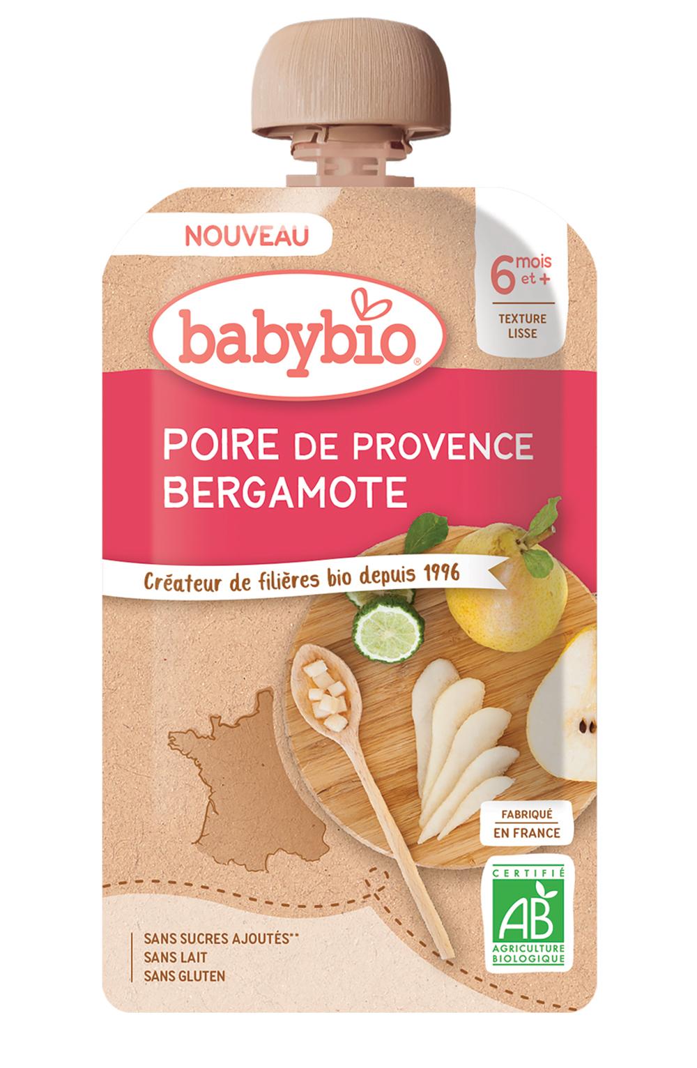 babybio Poire de Provence bergamote - Des bouquets de saveurs pour bébé avec les gourdes Babybio
