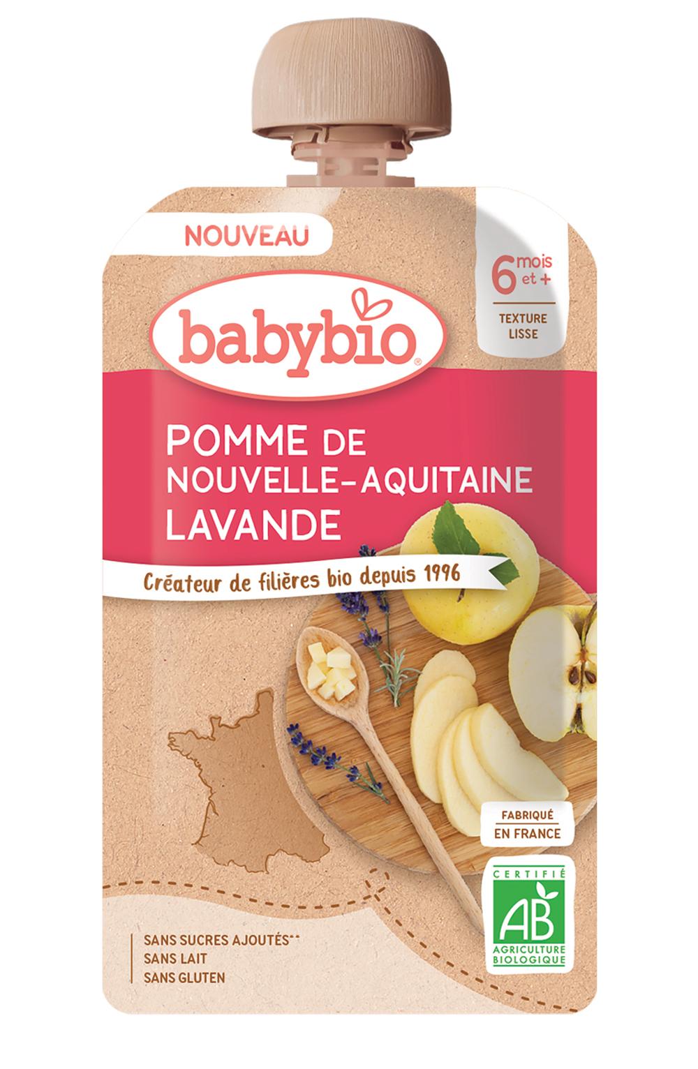 babybio Pomme de Nouvelle Aquitaine Lavande - Des bouquets de saveurs pour bébé avec les gourdes Babybio