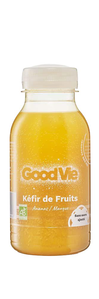 GOD VIE Packshot ananas mangue - Good Vie lance un kéfir à base de fruits