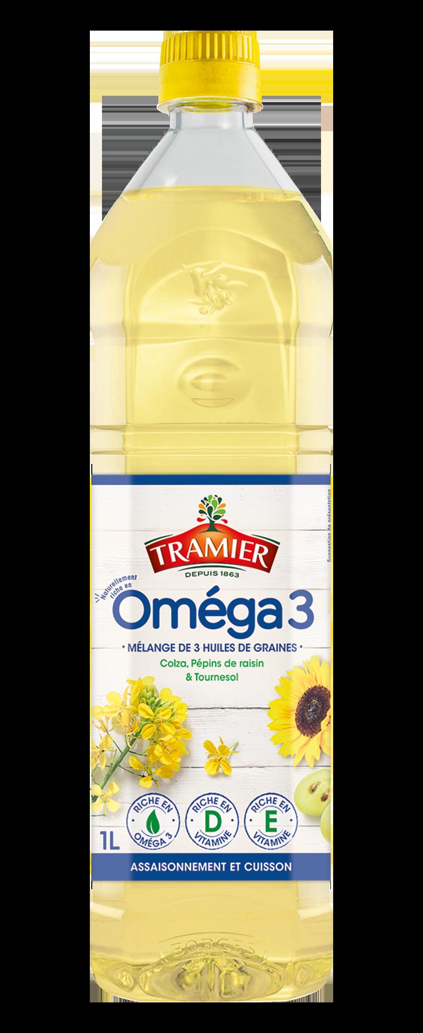Bouteille Omega 3 TRAMIER - Tramier sort une nouvelle alliance d'huile