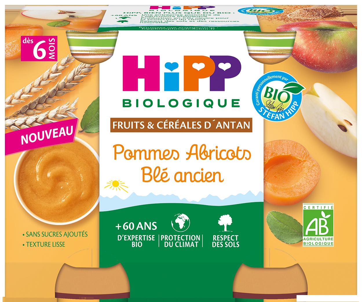 Pommes abricots ble ancien - HIPP agrandit sa gamme de produits bios pour bébé