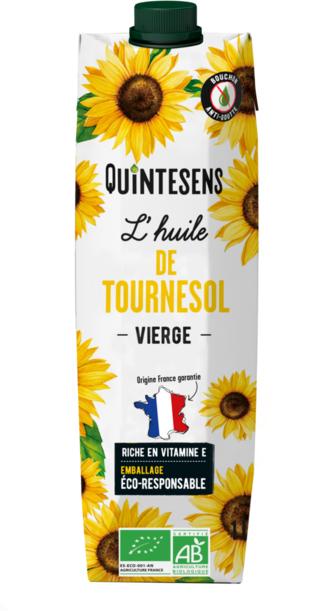 quintesens - L'huile de tournesol vierge bio de Quintesens en emballage carton Tetra Pak