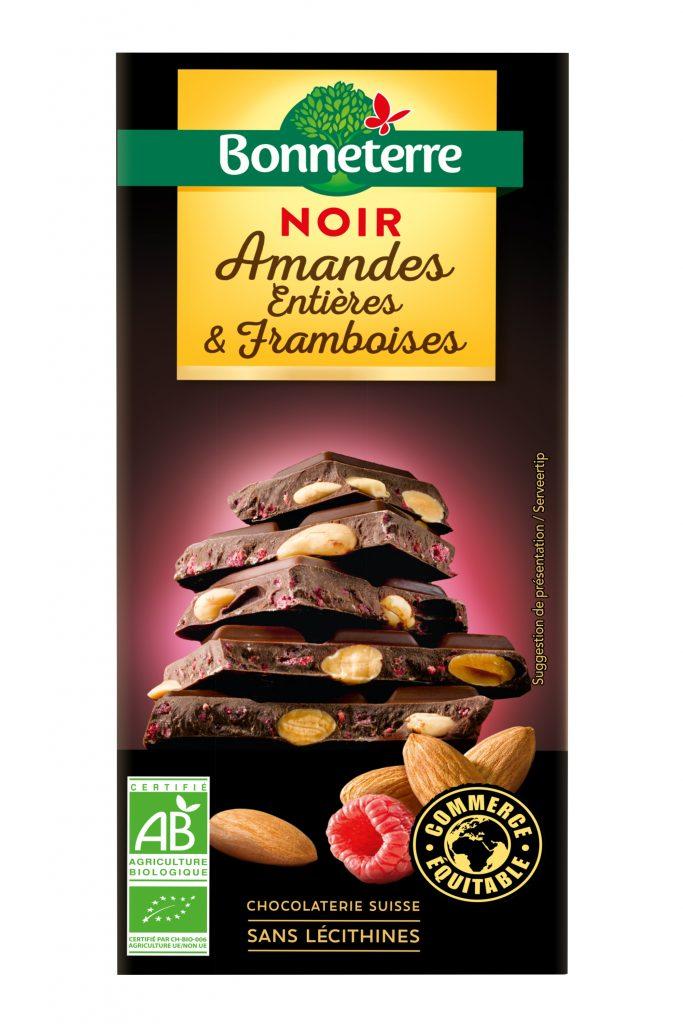 Bonneterre Noir Amandes entieres framboises 180g 683x1024 - Les tablettes chocolat noir bio et gourmand de Bonneterre