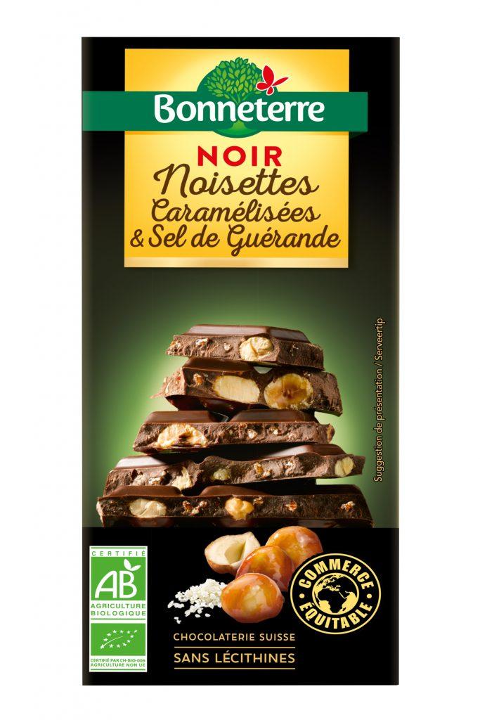 Bonneterre Noir Nois caramelisees sel de guerande 180g greenpack 05 2021 683x1024 - Les tablettes chocolat noir bio et gourmand de Bonneterre