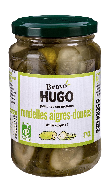 Bravo Hugo rondelles aigres douces V2 - Les carottes, courgettes et cornichons en ont dans le bocal avec Bravo Hugo !
