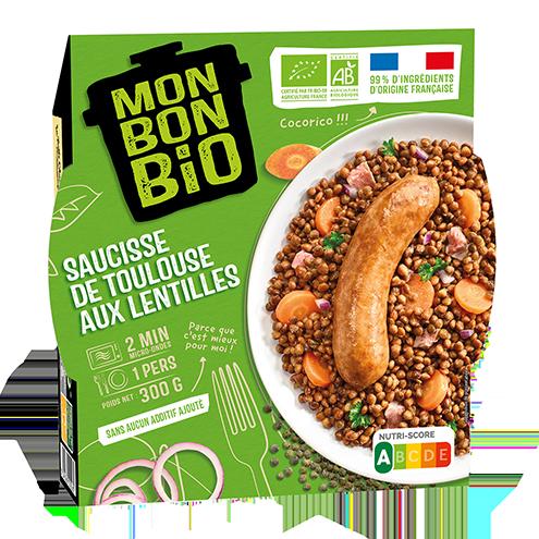 MBB Saucisse de Toulouse aux lentilles 300g pack - Mon Bon Bio, c'est bon et c'est bio naturellement !