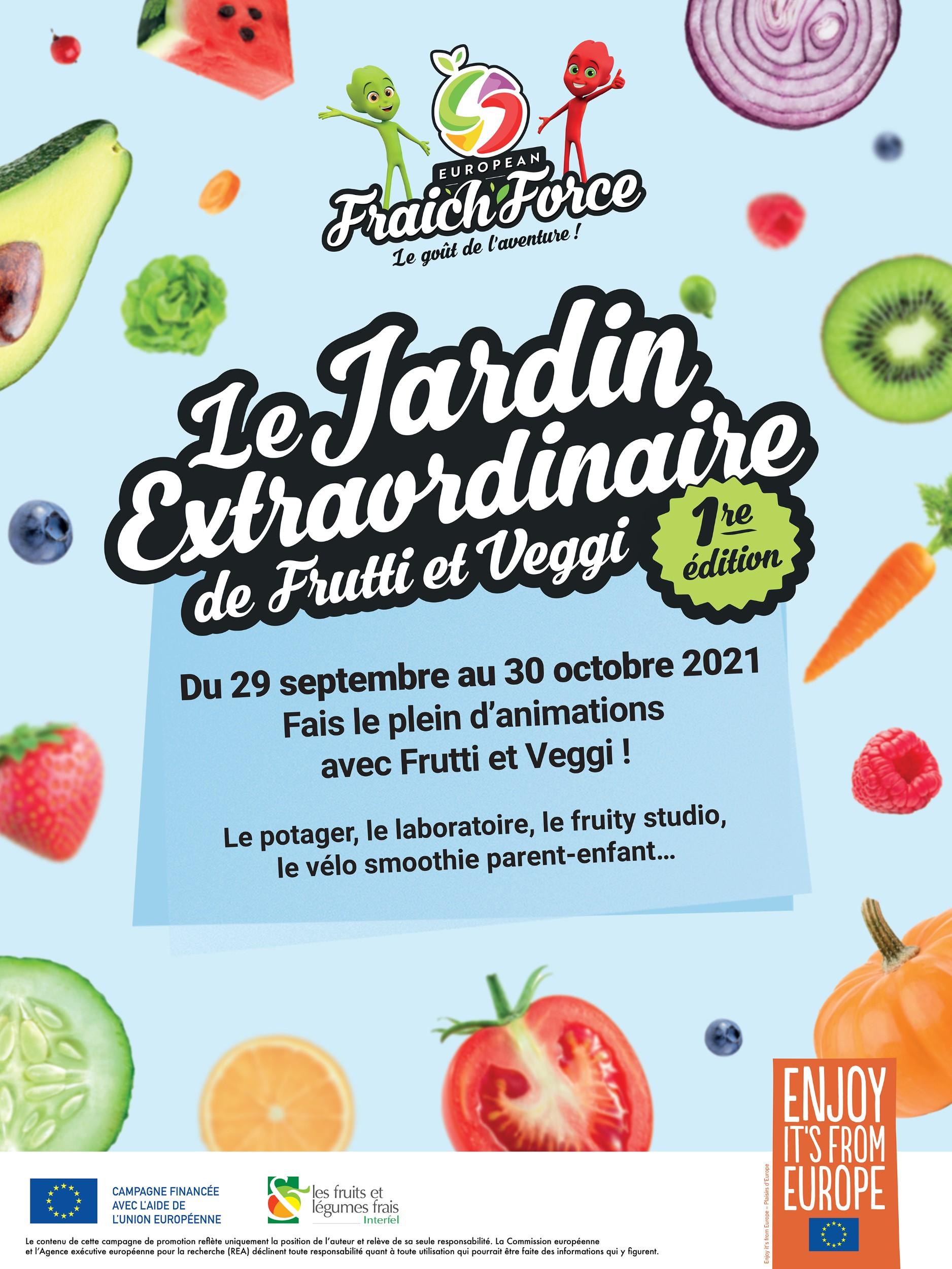 affiche - Frutti et Veggi offrent aux familles une expérience sensorielle autour des fruits et légumes frais