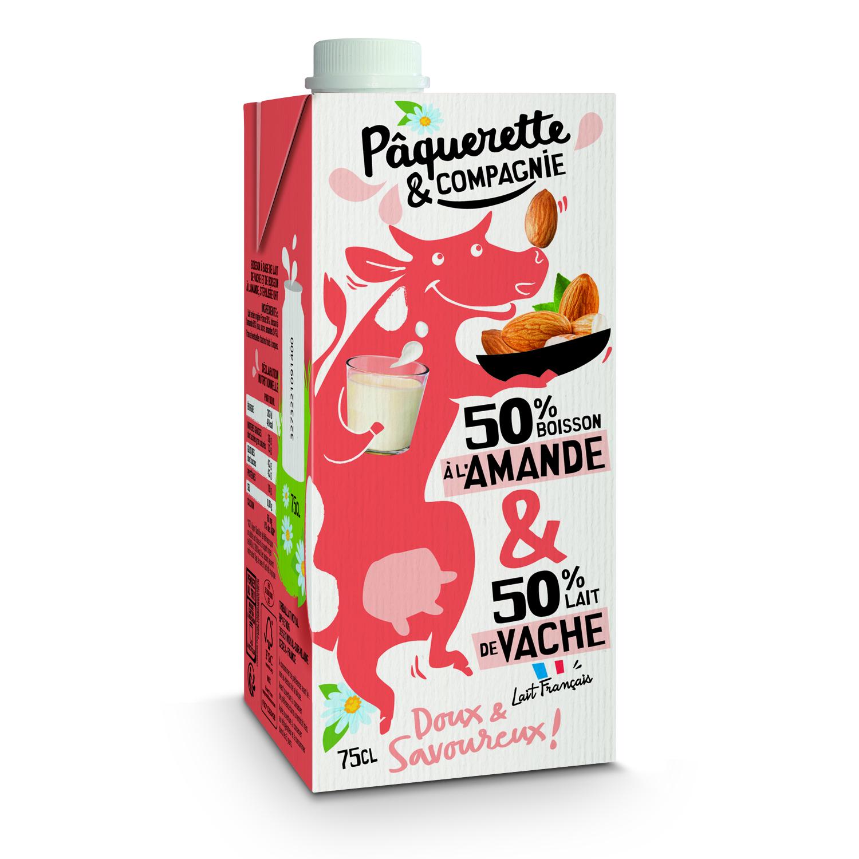 3D Boisson Amande Lait 75cl  - Pâquerette & Compagnie révolutionne le rayon lait avec un mix laitier/végétal