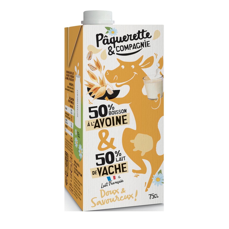 3D Boisson Avoine Lait 75cl  - Pâquerette & Compagnie révolutionne le rayon lait avec un mix laitier/végétal