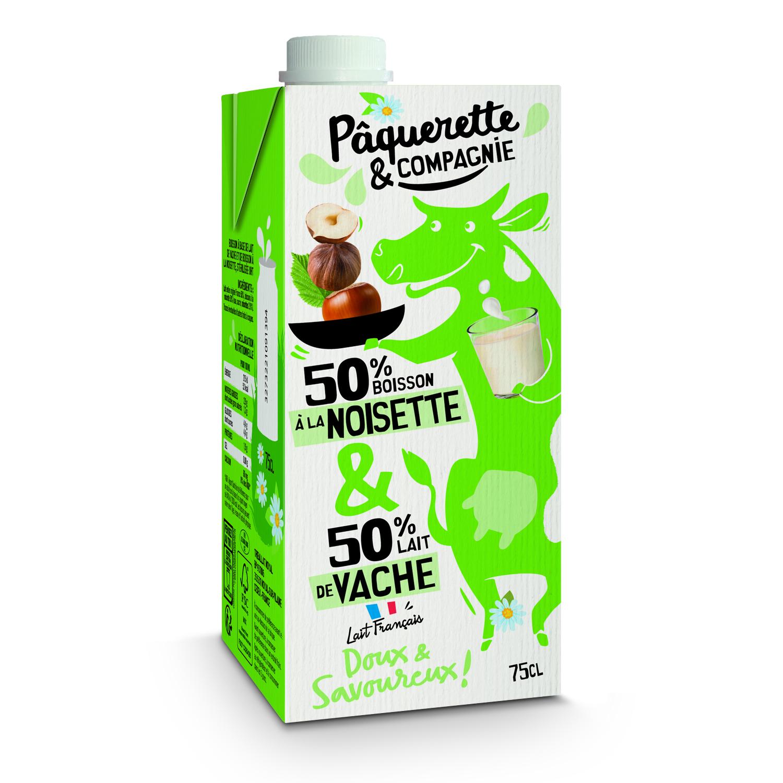 3D Boisson Noisettes Lait 75cl - Pâquerette & Compagnie révolutionne le rayon lait avec un mix laitier/végétal